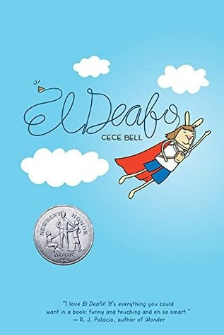 Cover of El Deafo, bunny cartoon with hearing aids and red cape flying across sky