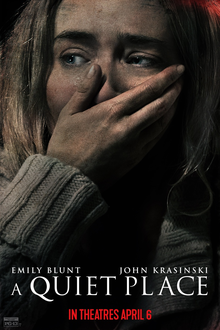 a quiet place poster, female actress with hand over face in fear