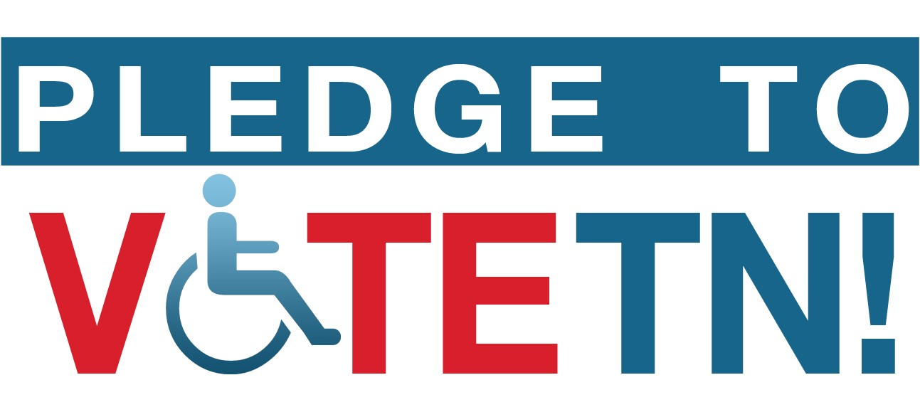 Words pledge to Vote TN in red and blue with an accessible symbol in place of the O
