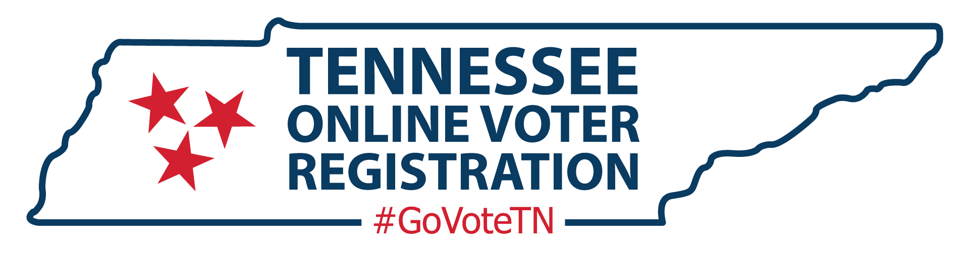 outline of state of TN with words, Tennessee online voter registration #GoVoteTN