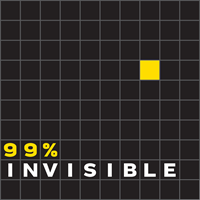 black grid with one yellow square, words 99%25 invisible